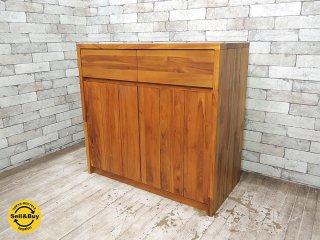 ウニコ unico ブレス BREATH チーク無垢材 キャビネット W85cm サイドボード 食器棚 レンジ台 ●