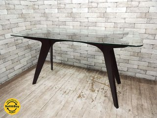 イーアンドワイ E&Y ペガサス PEGASUS ガラストップ ダイニングテーブル W140cm ダークブラウン Alex Macdonald デザイン ●