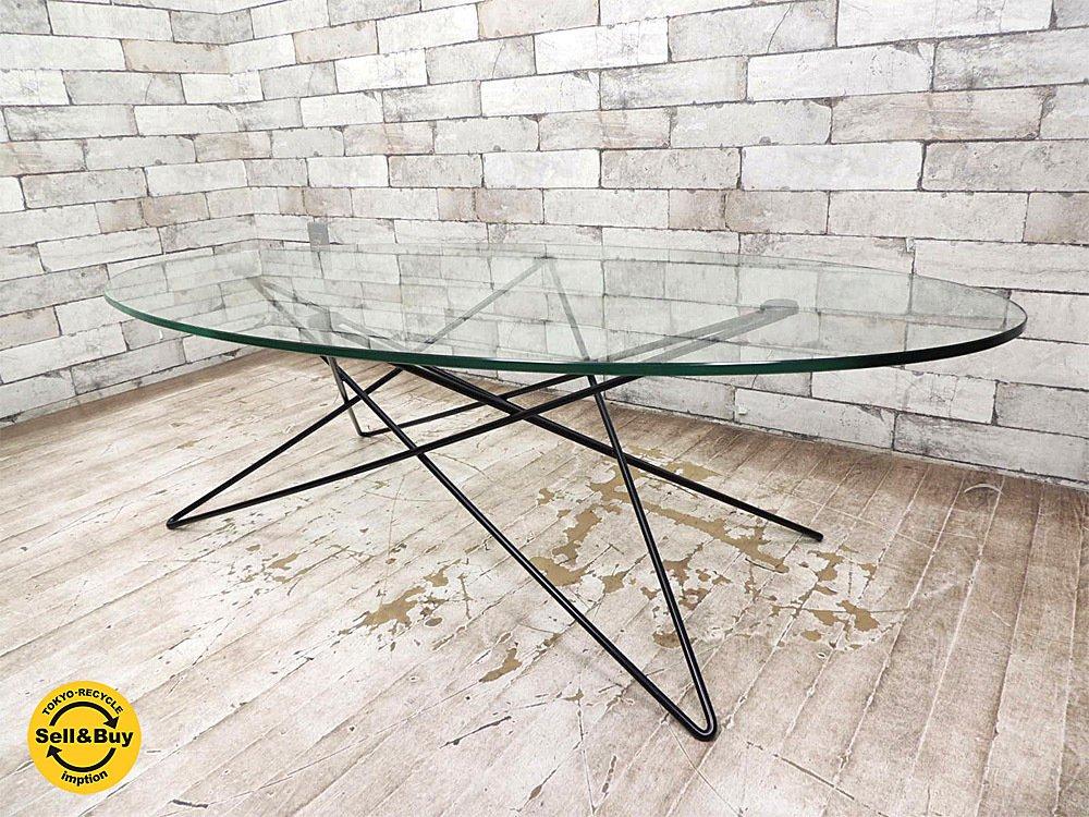 イデー IDEE O.R.T.F. リビングテーブル ローテーブル コーヒーテーブル ガラステーブル オーバル天板 ★