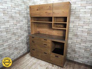 ウニコ unico アディ ADDAY オーク材 キッチンボード レンジ台 食器棚 W123cm オープンタイプ ステンレス天板 ●