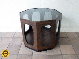 CPCM シーピーシーエム 購入 希少 ミッドセンチュリー 70's ビンテージ スモークガラス ヘキサゴン 六角形 ハニカム コーヒーテーブル サイドテーブル ローテーブル ◇