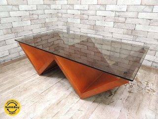 アルフレックス arflex モンターニャ MONTAGNA センターテーブル W120cm 川崎文男 天板スモークガラス ●