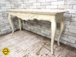 フレンチカントリー コンソールテーブル シャビーペイント W153cm ヨーロピアンスタイル ●