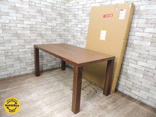 未使用美品 ウォールナット材 ダイニングテーブル W150cm シンプルデザイン ●