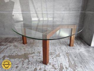 ウォールナットフレーム × ガラス天板 デザインリビングテーブル センターテーブル ♪