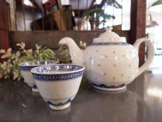 中国古玩 蛍焼き 急須 煎茶碗×2客セット ●