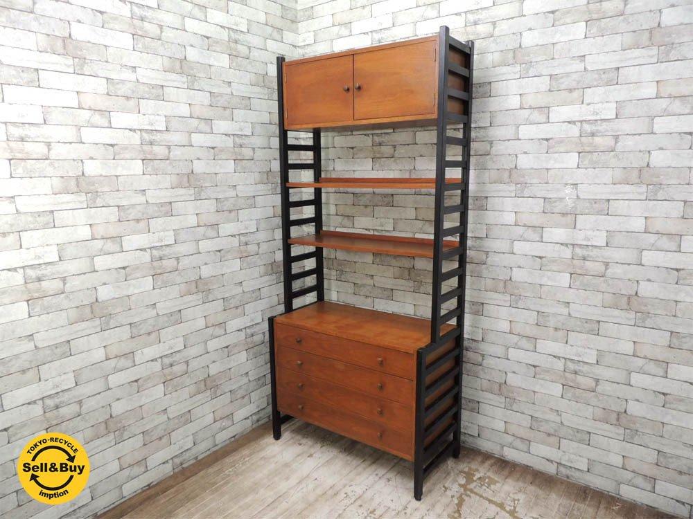 ジャパンビンテージ チーク材 ユニットシェルフ システムシェルフ 組み換え可能 飾り棚 収納棚 木製棚 チェスト 北欧スタイル ●