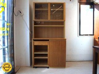 無印良品 MUJI キッチンボード 中央オープンタイプ ワゴンタイプ収納付 食器棚 レンジボード タモ材 ★