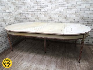 フランス ペインテッド EXダイニングテーブル 伸長式テーブル W120〜234cm クラシカル フレンチカントリー バロック ロココ ●