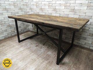 古材xアイアン ダイニングテーブル ワーキングテーブル W180cm 鉄脚 インダストリアルスタイル ●