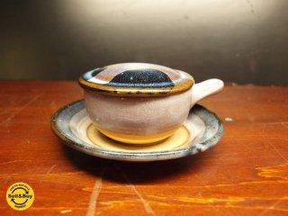 湯町窯 エッグベーカー 海鼠釉(ナマコ)釉 バーナード リーチ 民藝運動 茶碗蒸し グラタン 藍色 美品★