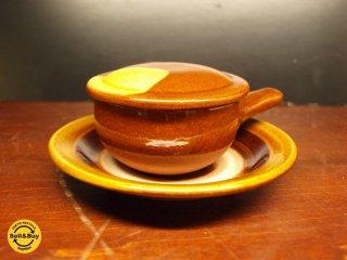 湯町窯 エッグベーカー 飴釉 バーナード リーチ 民藝運動 茶碗蒸し グラタン あめ色 美品 ★