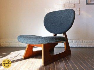 天童木工 TENDO ビンテージ 低座椅子 長大作デザイン 座面張替え済み グレー 和モダン ◎