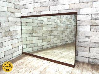 ジャパンビンテージ チーク材 ウォールミラー 鏡 姿見 W90xH62.5cm 北欧スタイル ●