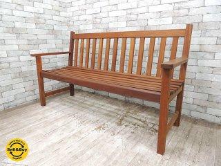 チーク無垢材 ガーデンベンチ 木製ベンチ ベンチチェア 屋外家具 カフェベンチ ●