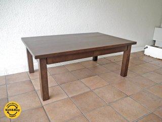 無印良品 MUJI 木製 引出し付き ローテーブル タモ材 ブラウン センターテーブル 文机 コーヒーテーブル リビングテーブル ◇