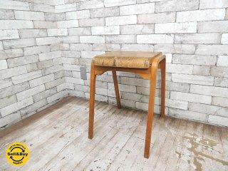 フランスビンテージ プライウッドスツール 木製椅子 SH50.5cm ヨーロッパ アンティーク カントリー ブロカント ◎