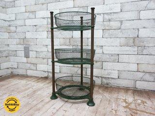 ビンテージ vintage 鋳鉄 × 真鍮 cast iron brass 3段 ラック バスケット付き ◎