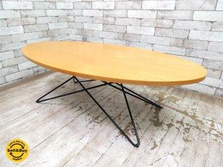 オーバル木製天板 × スターベース ローテーブル コーヒーテーブル ガラステーブル ●