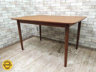 Gustav Bahus ビンテージ チーク材 エクステンションダイニングテーブル EXテーブル w130cm 伸長天板2枚 北欧家具 ノルウェー ●