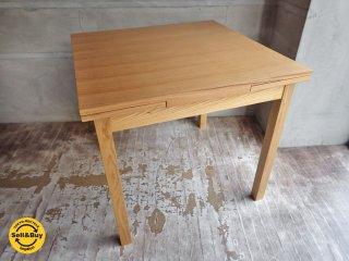 無印良品 MUJI タモ材 伸長式 エクステンションテーブル ダイニングテーブル ♪