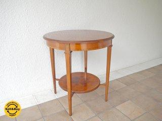 イタリア ビンテージ ラウンドテーブル メープル 引出し付き サイドテーブル バロック アールデコ ◇