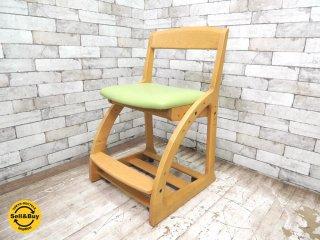 カリモク Karimoku オーク無垢材フレーム デスクチェア 学習椅子 座面高など調整可 ●
