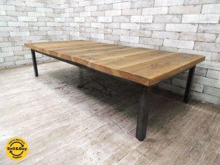 無垢材x鉄脚 ローテーブル コーヒーテーブル W159cm アイアン インダストリアルスタイル ●