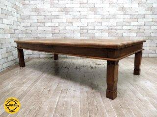 アジアン家具 無垢材xバンブー ローテーブル センターテーブル コーヒーテーブル W150cm バリ家具 ●