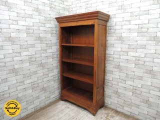 アジアン家具 チーク材 シェルフ 飾り棚 ディスプレイ棚 本棚 オープンタイプ W101cm ●