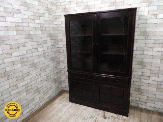 民芸家具 樺材 食器棚 W121.5cm カップボード ガラスキャビネット 本棚 和家具 茶箪笥 ●