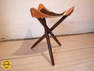 ハンティングチェア Hunting chair スツール 木製 三本脚 ハラコ レザー 折りたたみ可 ビンテージ ★