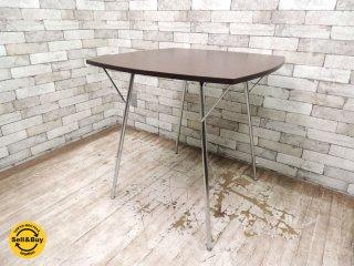 ニーダイニングテーブル Ny Dining Table 新居猛デザイン SHAMIDO W75cm 廃番ブラウン天板 折り畳みテーブル ●