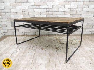 COBA INDUSTRIAL WORKS 古材xアイアン ローテーブル コーヒーテーブル W90cm 鉄脚 インダストリアルスタイル 足場板 木味 クラフト ●