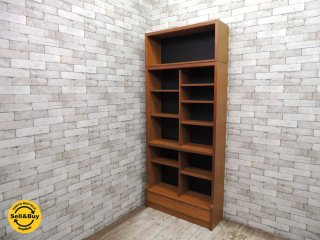 ビンテージ チーク材 ブックケース 本棚 書棚 飾り棚 上置き付 ジャパンレトロ 北欧スタイル ◎