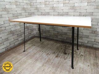 無印良品 MUJI エンツォマーリ Enzo Mari デザイン ダイニングテーブル W135cm メラミン天板 廃番アイテム ●