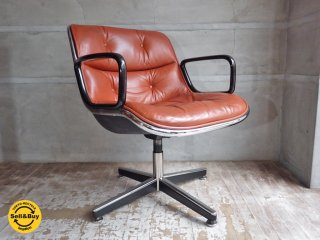 ノール Knoll ポロック チェア Pollock chair 4本脚 昇降 ノーマル ベース キャメル レザー 本革 デスクチェア ワークチェア B ♪
