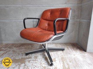ノール Knoll ポロック チェア Pollock chair 4本脚 昇降 ノーマル ベース キャメル レザー 本革 デスクチェア ワークチェア A ♪