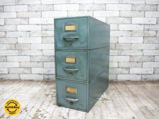 ビンテージ vintage スタッキング ファイルキャビネット 3段 スチール インダストリアル ●