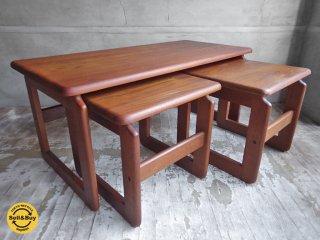 ヴィンテージ チーク材 無垢集成材 ネストテーブル サイドテーブル ♪
