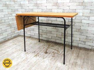 鉄脚 リメイク無垢材天板 片バタフライテーブル カフェテーブル レトロテーブル デスク ビンテージ ●