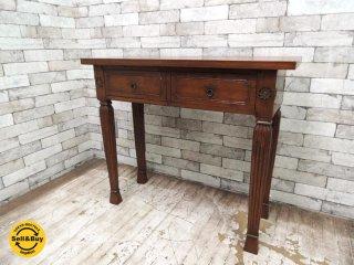アジアン家具 チーク無垢材 デスク コンソールテーブル 引き出し2杯 W90cm バリ家具 ●