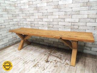 古材 ベンチ コーヒーテーブル W165cm 無垢材 クラフト インダストリアルスタイル ●