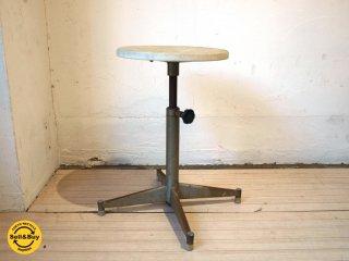 フランス ビンテージ インダストリアル シャビーシック スツール 丸椅子 カフェスツール 工業系 作業椅子 ★
