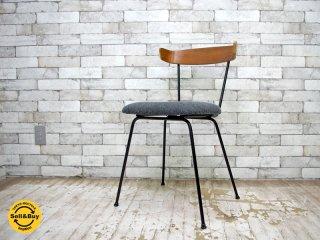 Clifford Pascoe Furniture ビンテージ ダイニングチェア プライウッド × 鋳物 ファブリック張替え済み ポール・マッコブ スタイル グレー ●