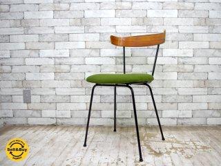 Clifford Pascoe Furniture ビンテージ ダイニングチェア プライウッド × 鋳物 ファブリック張替え済み ポール・マッコブ スタイル グリーン ●