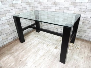 モダンデザイン ガラストップ ダイニングテーブル W127cm ブラック木製脚 シンプルデザイン ●