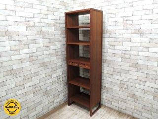 家具工房 旅する木 ウォールナット無垢材 オープンシェルフ ブックケース 本棚 書棚 飾り棚 引き出し2杯付 ●