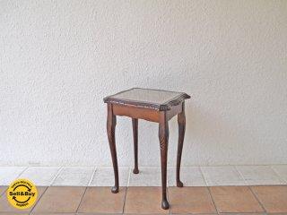 UKビンテージ ガラストップ サイドテーブル 猫脚 クラシック 花台 彫刻 イギリス ◇