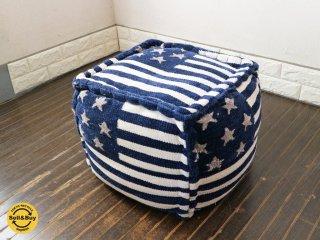 ダブルティー WTW アメリカン 星条旗 オットマン スツール クッション ネイビー×ホワイト ◎